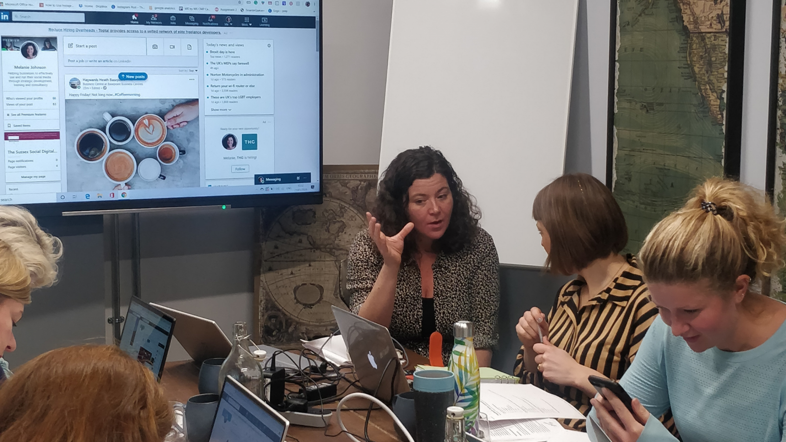 A photo of a social media training session